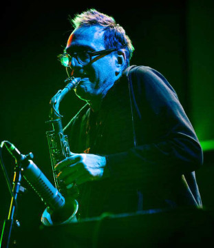 John Zorn plays saxophone