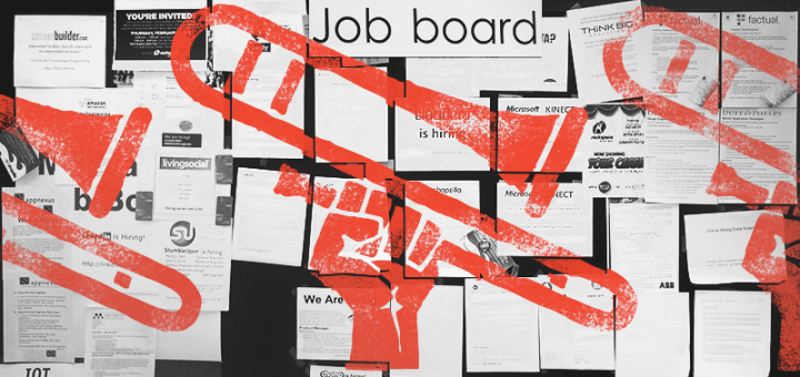 Stenciled fist thrusting a trumpet in the air over a job board