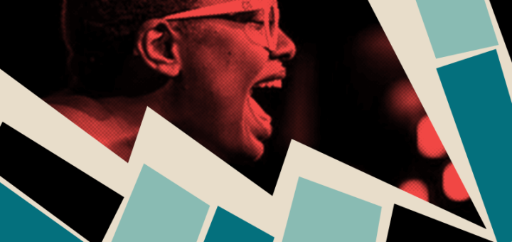 Cecile McLorin Salvant sings, masked in a lightning bolt graphic