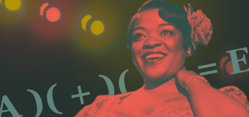 "Red toned photo of Nell Carter in a scene from the Broadway production of the musical ""Ain't Misbehavin"" with algebraic equation behind her"