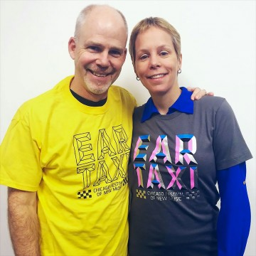 Stephen Burns and Augusta Read Thomas sporting Ear Taxi t-shirts