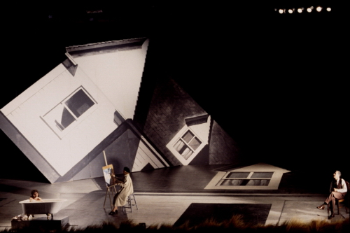 A painting of a collapsing house from the set of Hopper's Wife