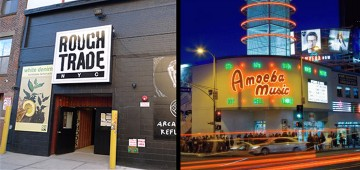 Storefronts of Amoeba Music and Rough Trade NYC