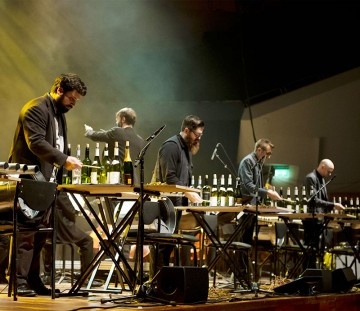 Sō Percussion performs on wine bottles
