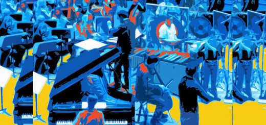 An abstractly colored picture of an orchestra