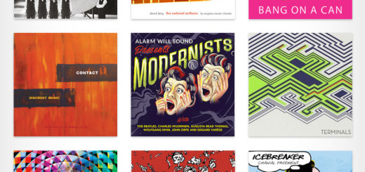 Nine colorful album covers of various designs