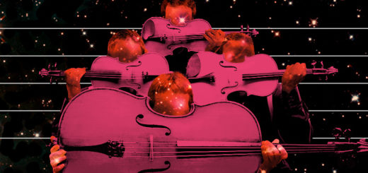 A stylized string quartet hold their instruments above the bottom half of their faces