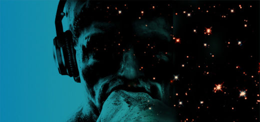 """The Thinker"" with headphones on, shadow side bleeding into a star-speckled photo of outer space"