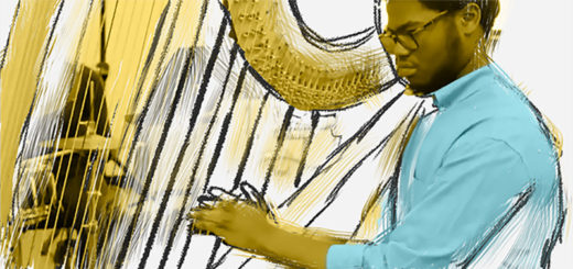 A young man plays the harp
