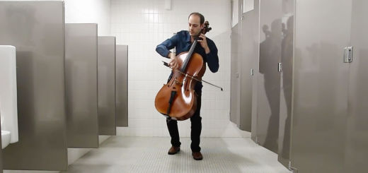 Mike Block plays the cello in a bathroom