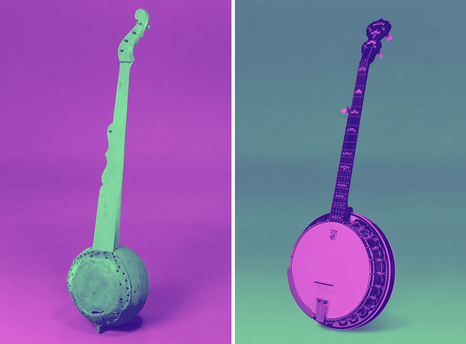 An old gourd banjo and a new commercial banjo