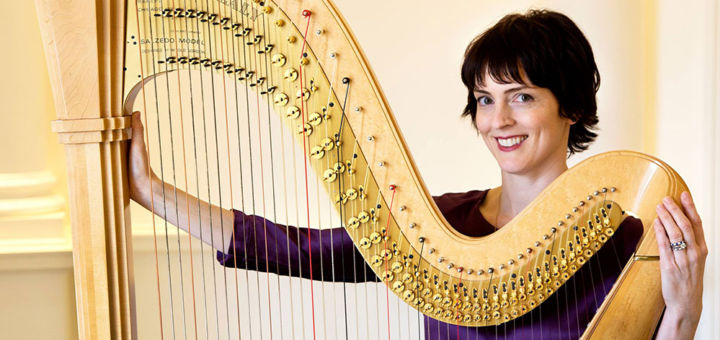 Elisabeth Remy Johnson with her harp