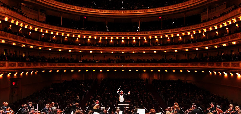 A view of Carnegie Hall from behind the orchestra