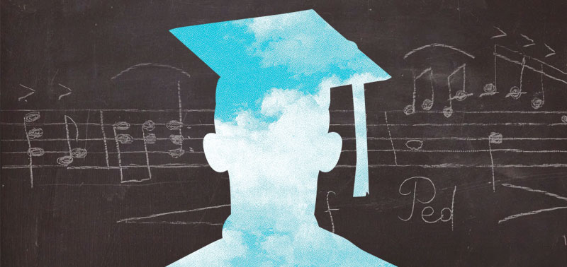 Silhouette of a graduate filled with clouds against a blackboard with musical notation