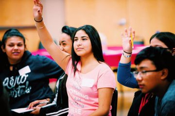 Students raise their hands