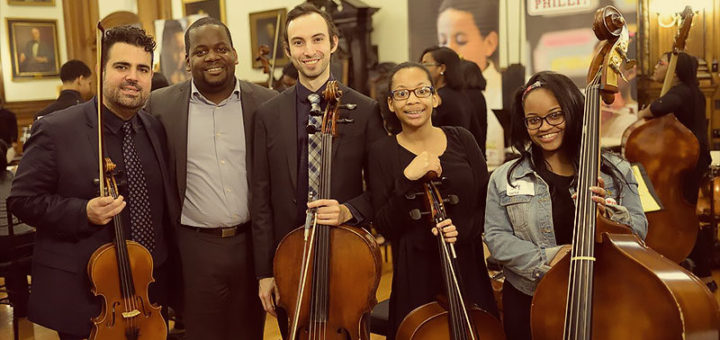 Stanford Thompson with student musicians from Play On, Philly!
