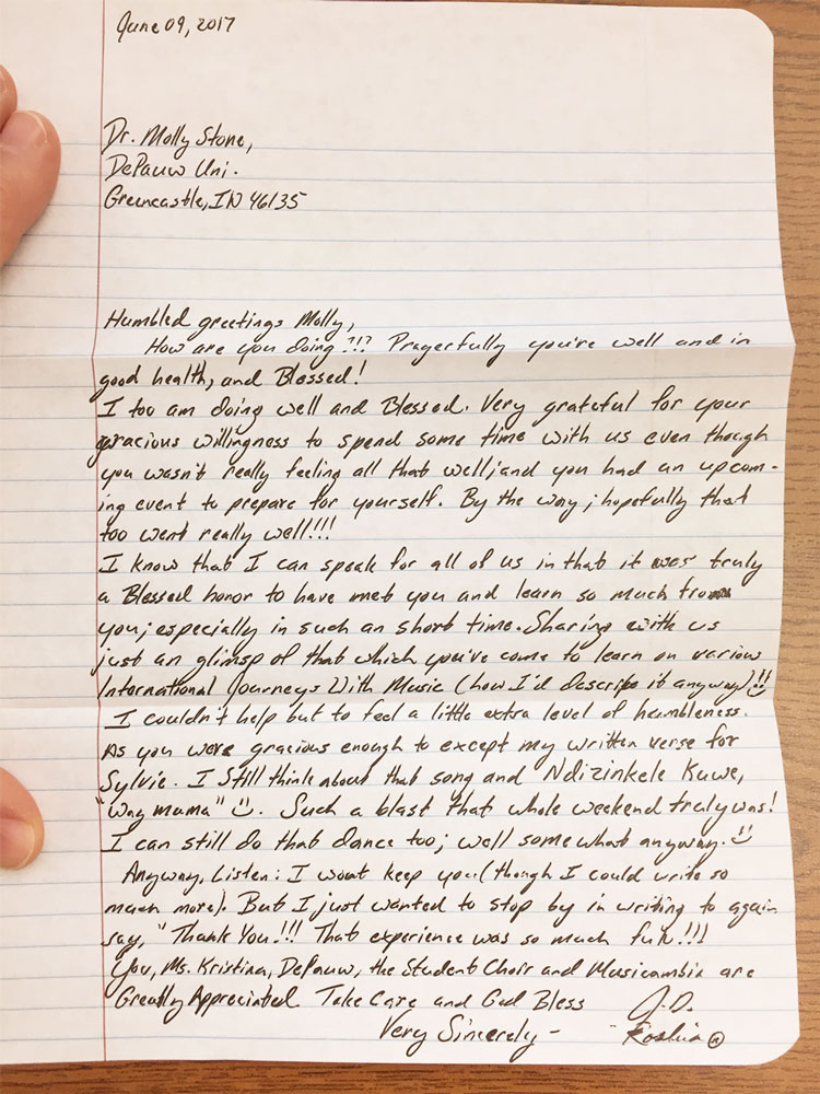 a letter from inmate Jesse