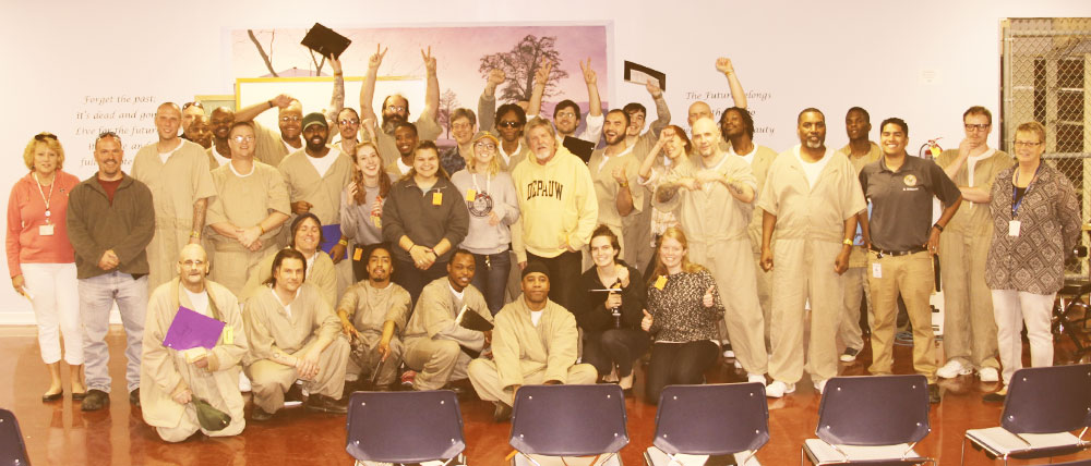 Student and inmate musicians cheer