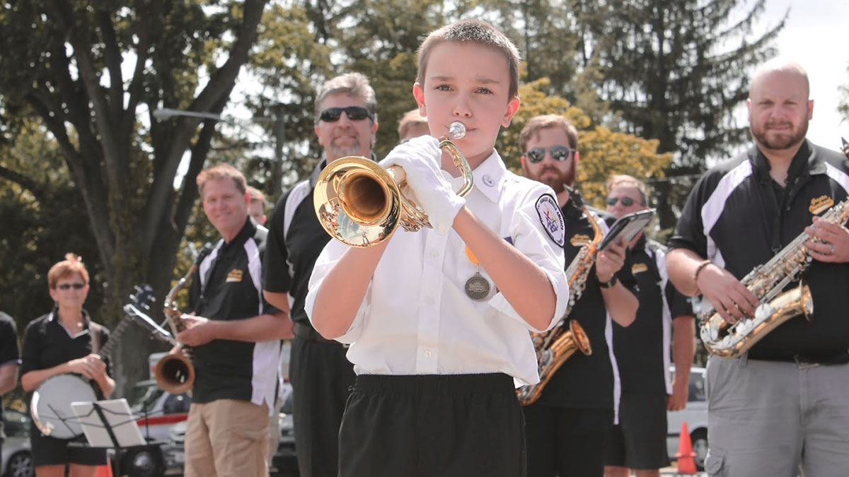 Aidan Peterson plays the trumpet