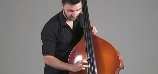 Andrew Ryan plays a double bass