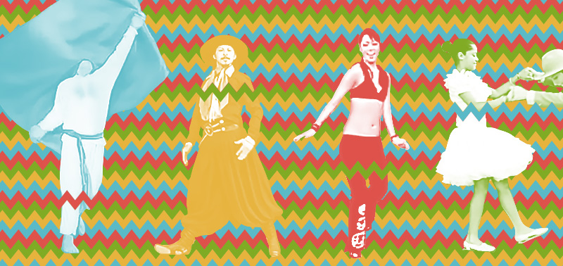 Four colorized dancers against a zigzag background
