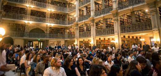 An audience since in a library