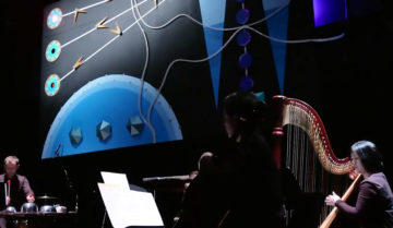 Musicians perform against a blue set with wires