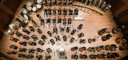 Overhead view of an orchestra