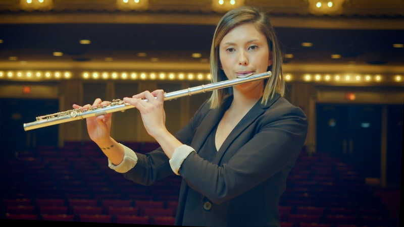 Alexandria Hoffman plays the flute