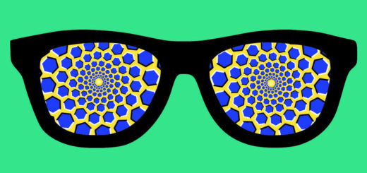 sunglases with optical illusion pattern in lenses