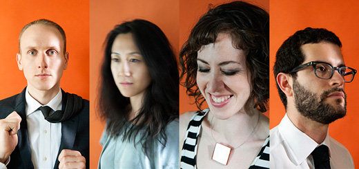 Four head shots against an orange background