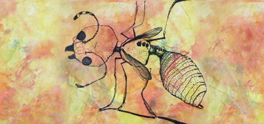 A drawing of a flying ant