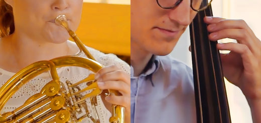 close-ups of a french horn player and a cellist