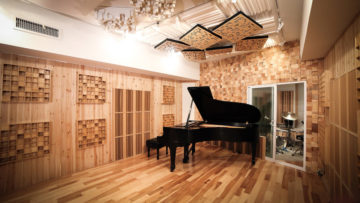 A wood-paneled recording studio with a grand piano