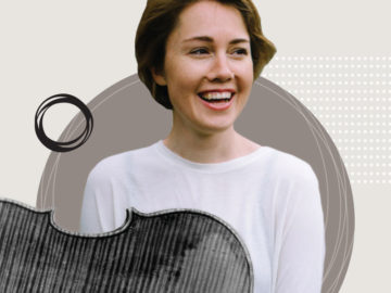 A smiling Caroline Shaw against a circle with a grayscale violin floating in front of her