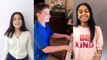 3 kids in separate locations perform together